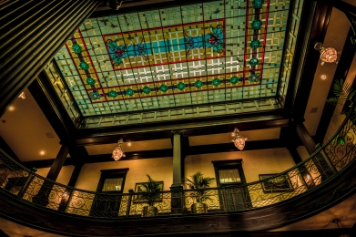 Inside the Geiser Grand Hotel. It has the largest stained glass window in the Pacific Northwest.