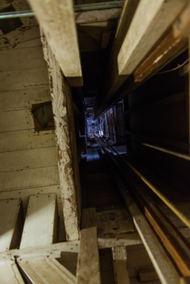 Looking up the main elevator shaft
