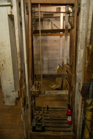 The mill has five stories, and this is the main elevator shaft.