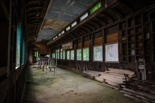 Inside old train car at Camp 18