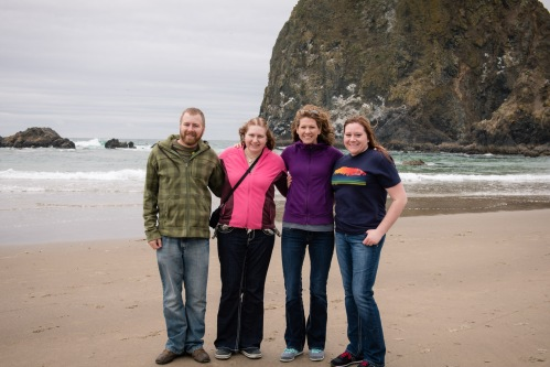 Devin, Erin, Melanie and Melissa at Cannon Beach