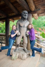 Melissa and Melanie with Bigfoot at Camp 18