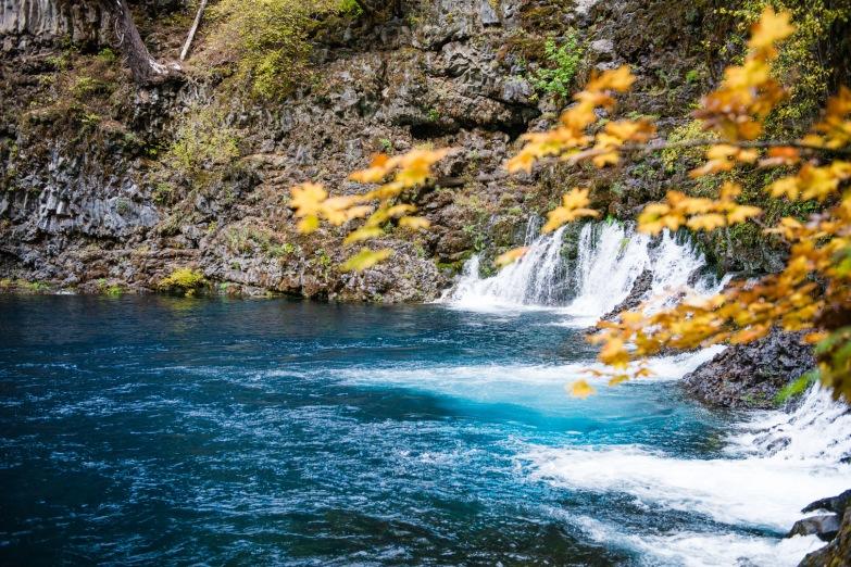 Blue Pool Fall Leaves