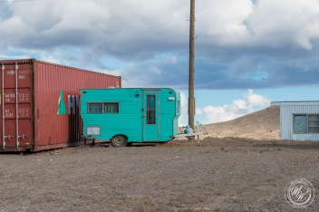 Adorable turquoise trailer.